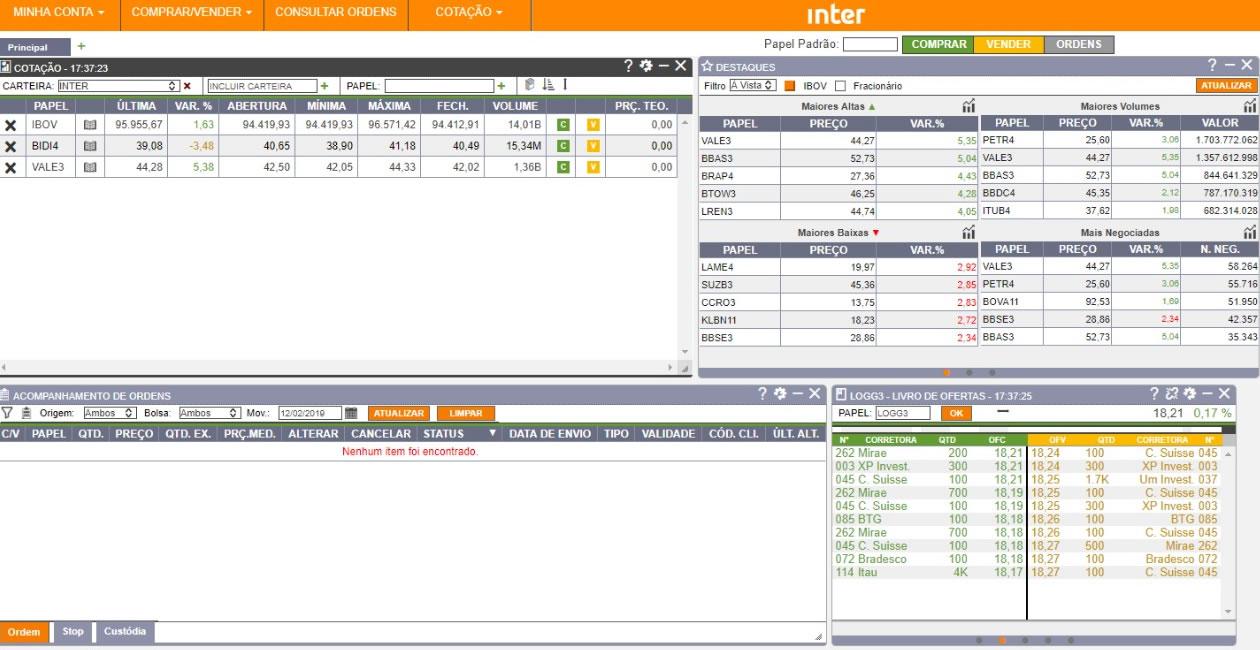 Home Broker do Banco Inter já funciona via web desktop